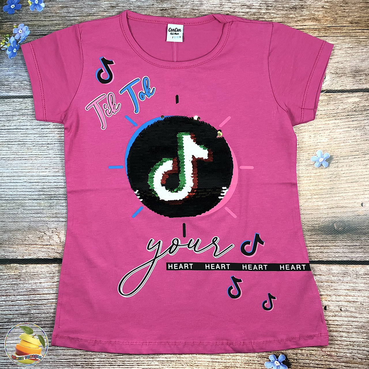 """Подростковая футболка """"Tik Tok"""" для девочки Размеры: 134,146,152 см (20243-2)"""