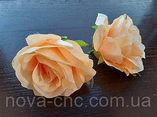 Роза бутон, тканевая персиковый 7 см 15 шт в упаковке