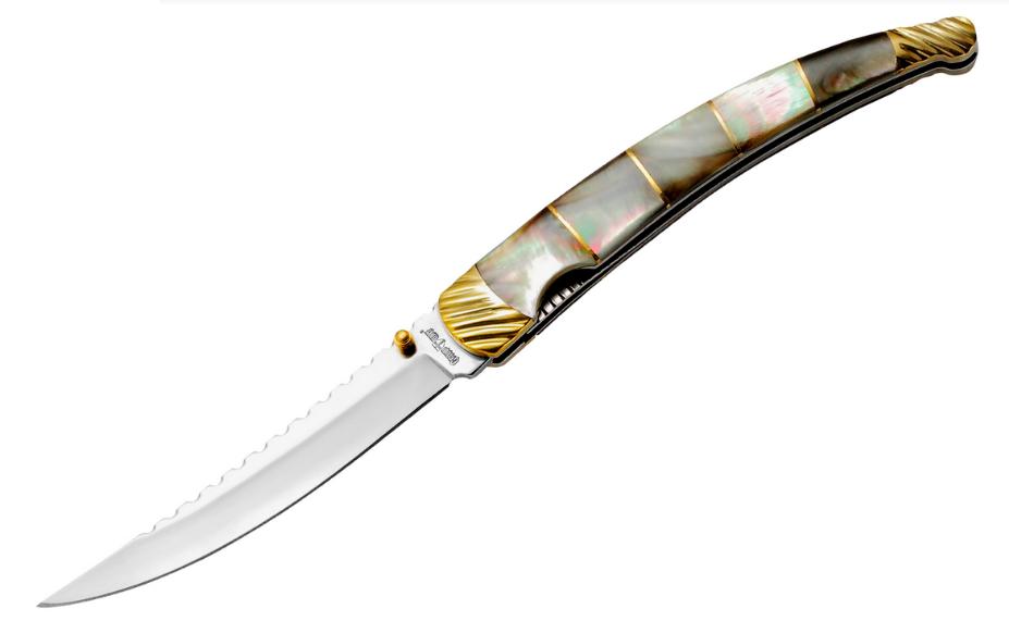 Нож сувенирный складной  для подарка. Рукоять - перламутровая ракушка натуральная.
