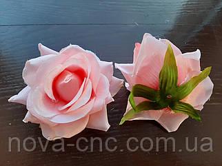 Роза без хвостика, тканевая розовый 7 см 15 шт в упаковке