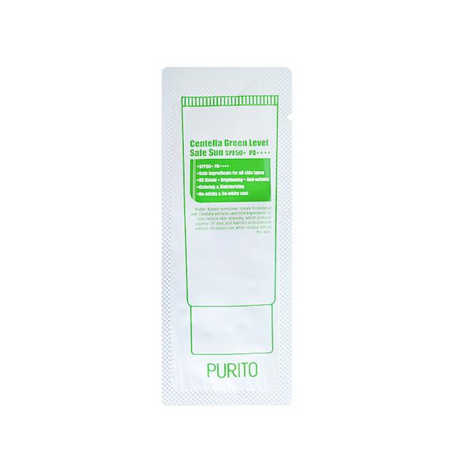 Пробник солнцезащитный крем с центеллойPurito Centella Green Level Safe Sun SPF50+ PA++++ Корейская косметика