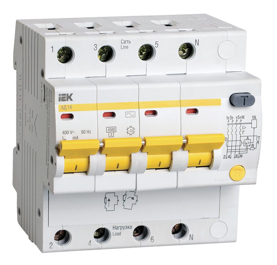 Дифференциальный автомат АД14 4Р 16А  10мА IEK (MAD10-4-016-C-010)