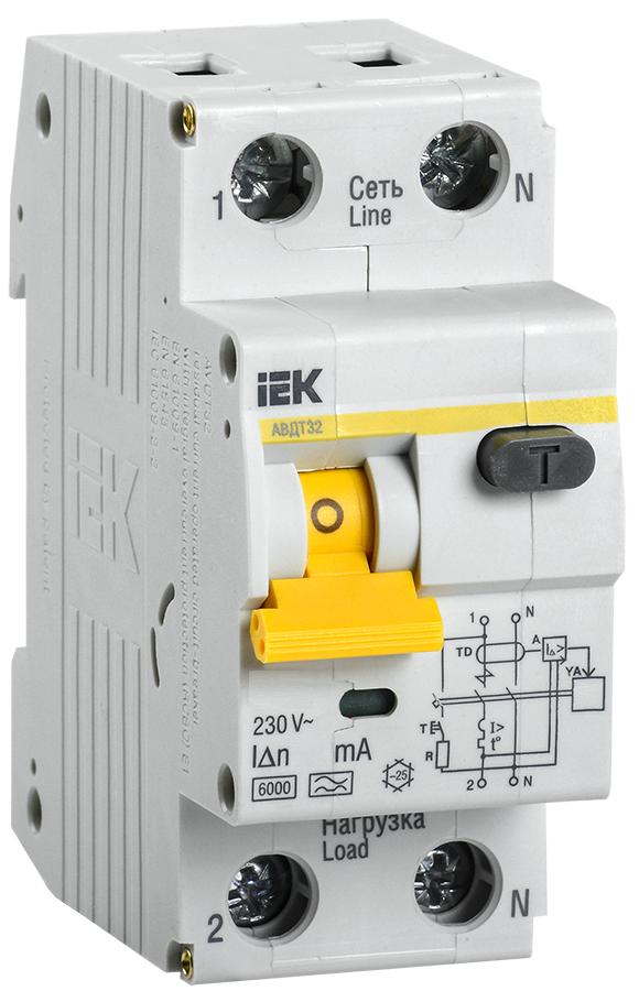 Автоматический выключатель дифференциального тока АВДТ32М  В16  30мА IEK (MAD32-5-016-B-30)