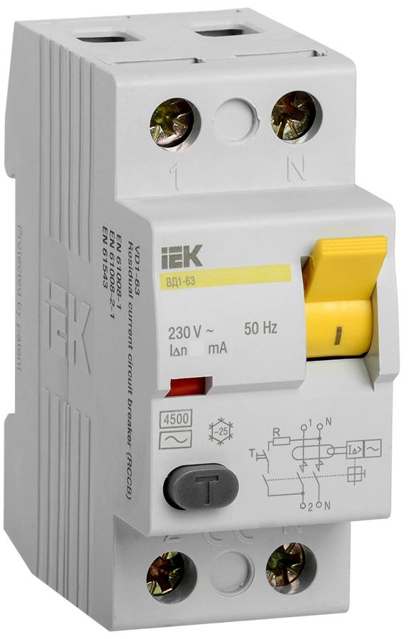 УЗО ВД1-63 2Р 16А 30мА тип А IEK (MDV11-2-016-030)