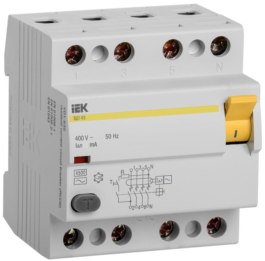 УЗО ВД1-63 4Р 50А 100мА тип А IEK (MDV11-4-050-100)