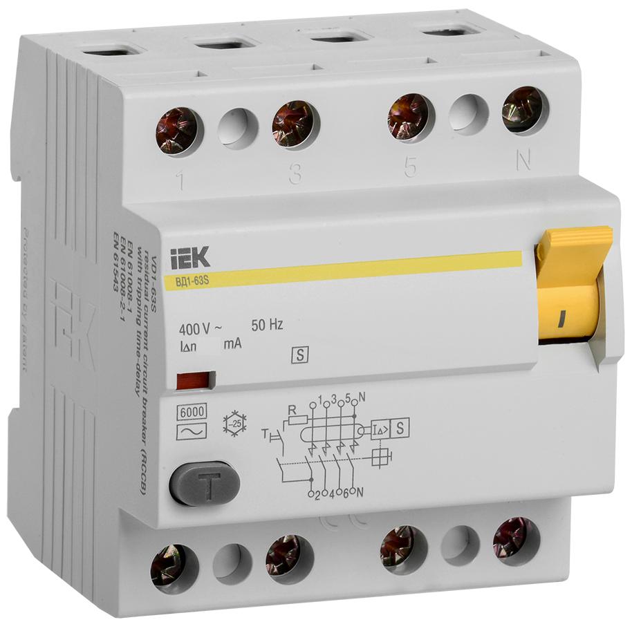 УЗО ВД1-63S 4Р 40А 100мА селективное IEK (MDV12-4-040-100)