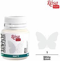 Акрил для декора, Белый 01, матовый, 20 мл, ROSA TALENT
