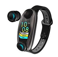 Фитнес браслет с беспроводными наушниками 2 в 1  T90 TWS Smart. спортивный браслет, фото 1