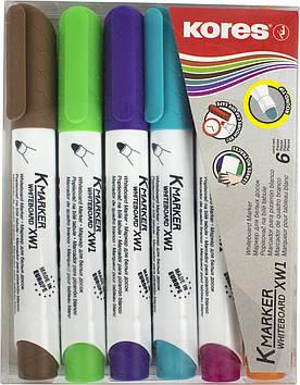 """Набір маркерів """"Kores"""" №K20802 1-3мм для дошки,6кольорів(5)"""