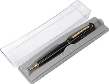 """Ручка кульк. """"FlairP"""" №1074 Fire лак голд/чорн. з короною 51549 сіня,футляр прозор."""