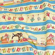 55008 Орнамент на тему рукоделия.Ткань для шитья, декорировая. Подойдет для пэчворка, сувениров и аксессуаров., фото 3