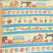 55008 Орнамент на тему рукоделия.Ткань для шитья, декорировая. Подойдет для пэчворка, сувениров и аксессуаров., фото 2