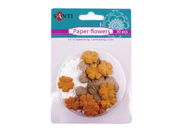 """Набір паперових квітів """"Santi"""" №952618 """"Крафт кольори"""" (30шт)"""