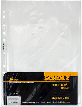 """Файл А4 """"Sсholz"""" №5011 40мкм прозор.(20шт/пач.)(100пач./ящ.)"""