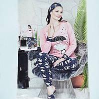 Размер M (44-46). Женская пижама, комплект 4 в 1, кофта, штаны, тапки, повязка, одежда для дома, Турция