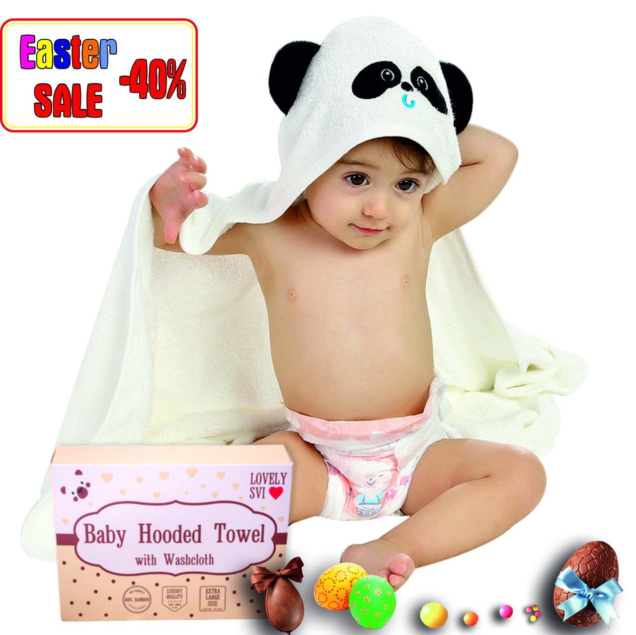Премиальное Детское Банное Полотенце с Капюшоном - Бамбуковое Полотенце Уголок -Полотенце Панда- Бонус:Мочалка
