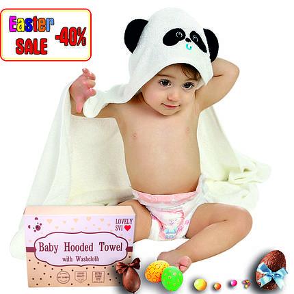 Премиальное Детское Банное Полотенце с Капюшоном - Бамбуковое Полотенце Уголок -Полотенце Панда- Бонус:Мочалка, фото 2