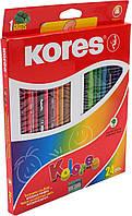 """Олівці кольор. 24 кольор. """"Kores"""" №K93324 трикут. 3мм з точилкою(6)(48)"""