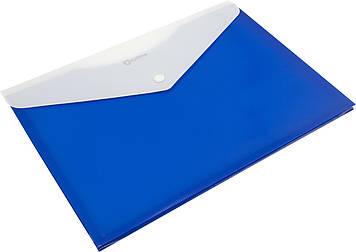 """Папка-конверт """"Optima"""" №O31315-02 A4 на кнопці сіня,розш.(12)"""