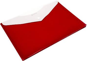 """Папка-конверт """"Optima"""" №O31315-03 A4 на кнопці червона,розш.(12)"""