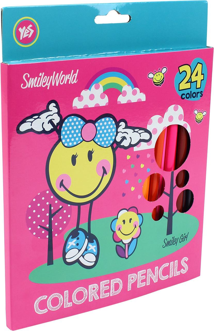 """Олівці кольор. 24 кольор. """"Yes"""" №290466 Smiley World(pink)(6)"""