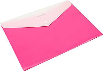 "Папка-конверт ""Optima"" №O35206-09 A4 пласт. на кнопці,2від.,Вишиванка,рожева(10)"
