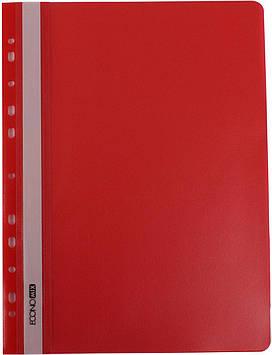 """Папка-швидкозш. """"Economix"""" №E31508-03 A4 з прозор.верхи,зперфор.,апельсина, натуральний.,черв(10)(300)"""