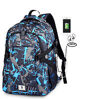 Школьный Рюкзак c usb Sankey городской портфель удобен для переноса мяча синий Код 13-7124