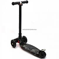 Самокат трехколесный детский MAXI Best Scooter пластмассовый, 4 колеса PU, СВЕТ d=12см (779-1318), фото 3