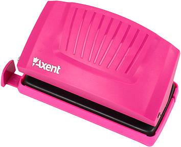 """Дирокол """"Axent"""" 10арк. з пласт. верх. рожевий №3410-10 Shell(12)"""