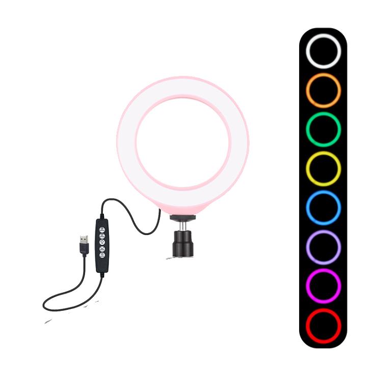 Кольцевая лампа для блогеров (RGBW 8 цветов освещение) 12см. диаметр+мини-студийный Трипод