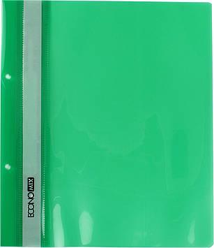 """Папка-швидкозш. """"Economix"""" №E31506-04 A5 з прозор.верхом,з перфори. зелена(10)(400)"""