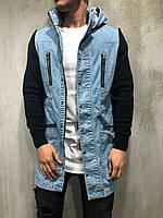 Джинсовка мужская синяя удлиненная куртка джинсовая удлиненная синяя мужская
