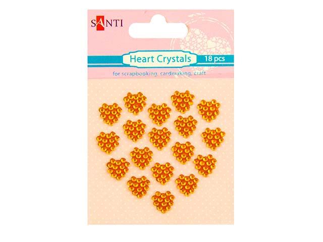 """Набір кристалів самокл. """"Santi"""" №952677 сердечка(помаранч.)(18шт)"""