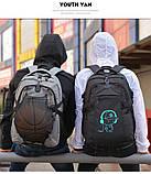 Школьный Рюкзак c usb Sankey городской портфель удобен для переноса мяча синий  Код 18-7136, фото 5
