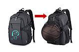 Школьный Рюкзак c usb Sankey городской портфель удобен для переноса мяча синий  Код 18-7137, фото 10