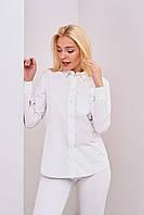 Котоновая женская рубашка белого цвета