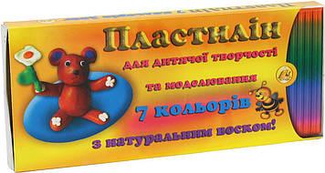 Пластилін 7 кольор. 300гр з натур. воском/Тетрада/(56)