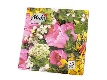 """Декупажні серветки """"Весняні квіти"""" 33х33см 18,5г/м2 (20шт) МАКІ №SLWI003001"""