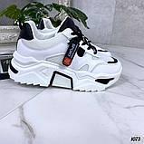 Женские кроссовки на массивной подошве белые с черным, фото 3