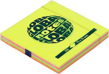 """Блок/заст. липк. куля 75х75мм 100арк.rainbow NEON GN """"Global Notes"""" №3654-39-pk1-b(12)"""