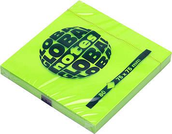 """Блок/заст. липк. куля 75х75мм 80арк. neon green GN """"Global Notes""""№3654-33(12)"""