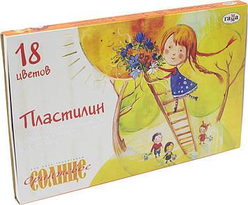 "Пластилін 18 кольор. 220гр ""Гамма"" №280040 Помаранчеве сонце(12)(24)"