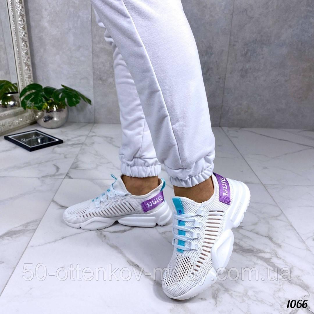 Женские кроссовки на массивной подошве белые, сетка + текстиль