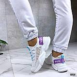 Женские кроссовки на массивной подошве белые, сетка + текстиль, фото 2