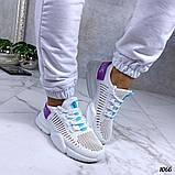 Женские кроссовки на массивной подошве белые, сетка + текстиль, фото 3