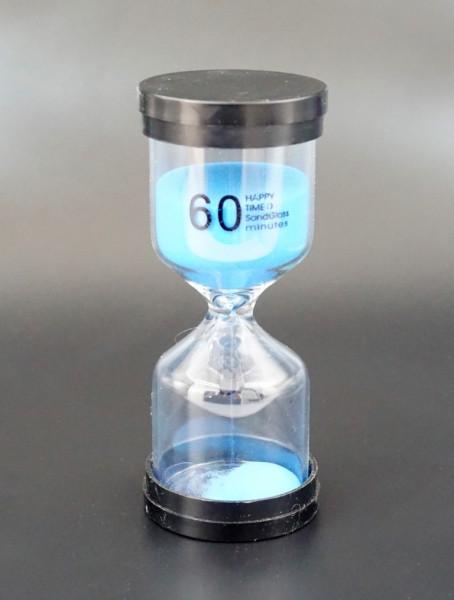 Часы песочные круглые 60 минут. Голубой песок