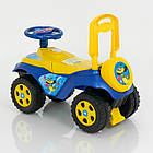 Машина каталка толокар Автошка 0142/U/04 желто-синий Фламинго музыкальный, фото 5