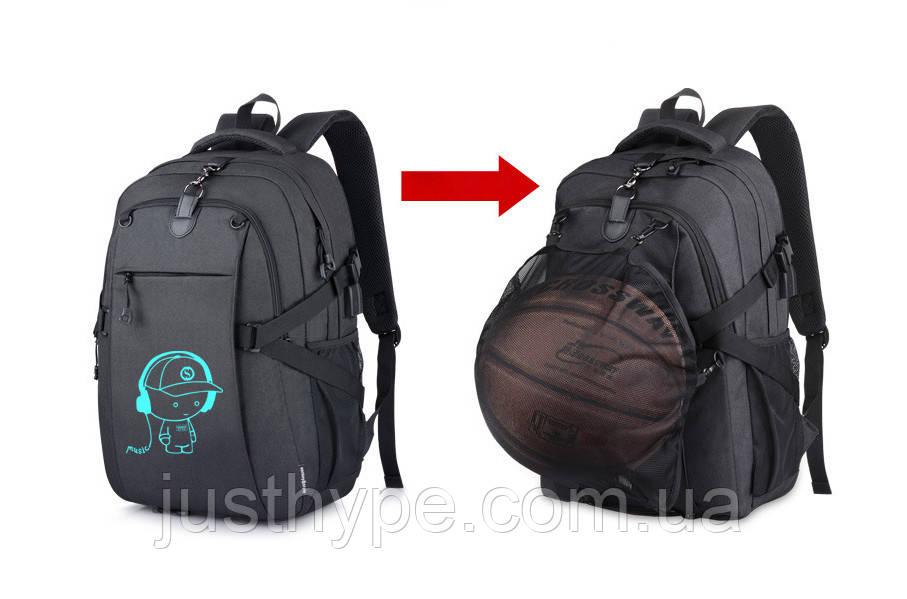Школьный Рюкзак c usb Sankey городской портфель удобен для переноса мяча  Код 13-7210
