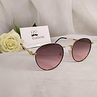 Круглые стильные солнцезащитные очки в металлической оправе розовые